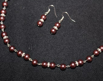 Burgundy Pearl Necklace Set