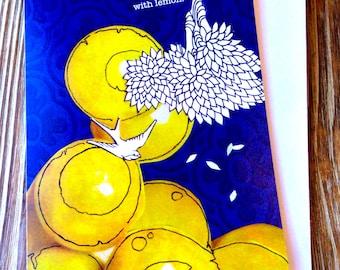 Card for Friend. Just because Card. Whimsical fun card. Lemon Dreams