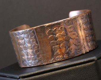 Artist Etched Copper Cuff Bracelet (031818-004)