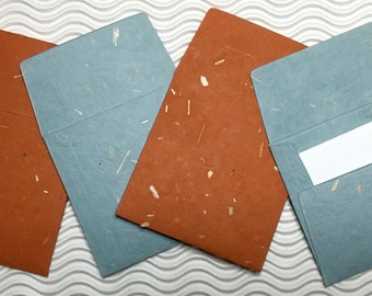 4 teeny tiny envelopes miniature mini note sets square blue rust inclusion stationery handmade paper party favor weddings guest book table