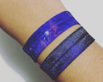 Galaxy Print Elastic Ribbon Style Bracelet, Purple, 2 per order
