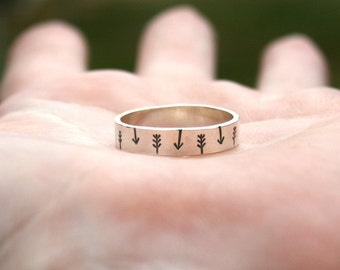 Personalized Jewelry - Custom Sterling Silver Ring -  Tribal Arrow Band