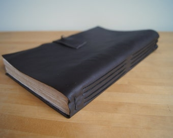"Leather Journal -- Deep Brown, Black Thread, 10"" x 6.5"" Cotton Pages"