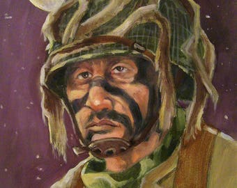 World War ll Airborne,11 x 16 Original Oil Painting On Board,One of a Kind,Not a Print