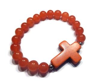 Southwest - Orange Bracelet - Quartz Stretch Stacking Bracelet with Howlite Gemstone Cross - Mishimon Designs