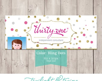 Thirty-one Bling Dots Facebook Cover Photo Image - ( Consultant, Thirty One, 31 )