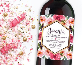 Wine Label Hostess Gift, Floral Thank You Champagne Label, Personalized  Bridal Shower Hostess Gift