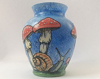 Mushrooms and snail  hand painted glass vase