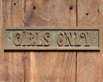 Voer deur teken oude stijl ondertekenen gegoten bronzen hars