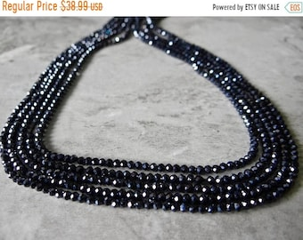 1st ANNIVERSARY SALE--- Black spinel faceted rondelles 3mm/12 inches long