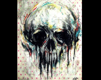 """Print 11x14"""" - Skull - Abstract Skeletons Macabre Dark Art Bones Taxidermy Death Day of the Dead Horror Spooky Gothic Creepy Cute"""