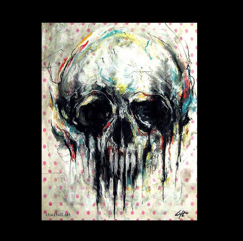 New Print 11x14 Skull Abstract Skeletons Macabre Dark KE74