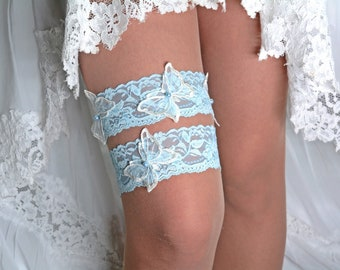 Handmade Ivory Butteqflies and Sky Blue Lace Wedding Garter Set, Bridal Garter Set, Butterfly Bridal Gift, Garter Set Blue, Garters Wedding