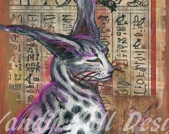 Egyptian Cabbit Print by Vandy Hall, signed