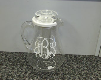 Acrylic Pitcher with ice insert and Monogram