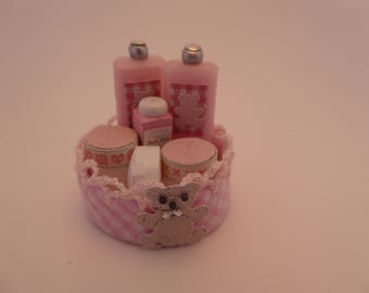 1/12th scale large handmade miniature basket with removeable contents for the dolls house baby/nursery/shop - pink
