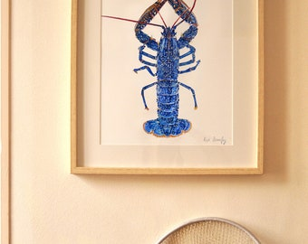 blue lobster print - watercolor - art print- home decoration - sea decoration