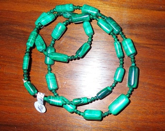Natural Malachite 24 inch Bead Necklace