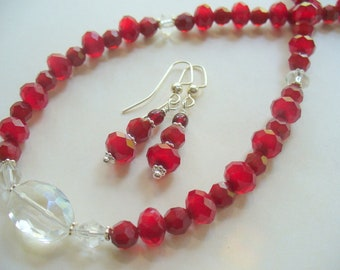 Red Beaded Necklace and Earring Set, Red Glass Bead Necklace, Choker Necklace, Silver Necklace, Beaded Necklace, Gift for Her, Jewelry Set