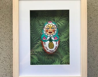 "Framed ""Tropicana"" BabushkaZ - babushka, matryoshka, painted rock, nursery decor, baby decor, tropical decor, tropical art, pineapple,"