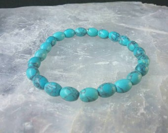 Turquoise oval beaded Gemstone Bracelet. Protection and healing