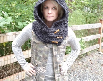 Gothic hood, woodland scarf cowl, steampunk hood, post apocylpitic crochet hood, mythical clothing,  crochet scoodie, steampunk cowl