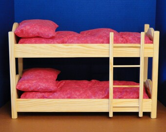 Bunk Bed with Mattresses & Pillows for 18 inch dolls (097)