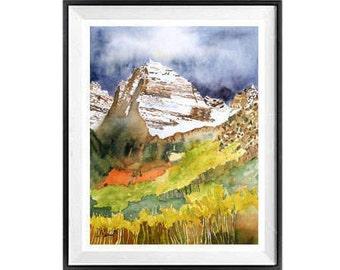 Paysage de Colorado, impressionniste, art mural, paysage de montagne, vente, Nature, décoration maison, Original, peinture, aquarelle, imprimer