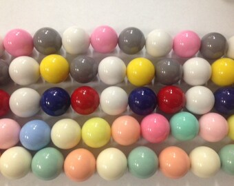 20mm round gumball beads, 18 beads, assorted colors