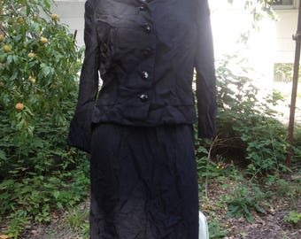 black silk suit, 1950s, size small