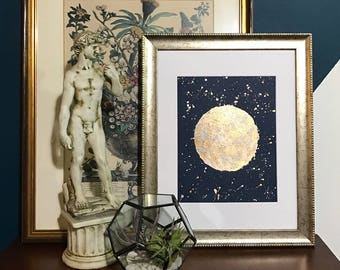 Moon - Gold Silver Metallic Art Abstract Painting Silvery Night Sky Original Artwork Golden Shiny Celestial Painting Reflective Abstract