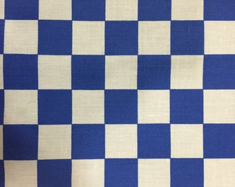 """Blue Checkered Print Poly Cotton Print Fabric - Sold By The Yard -  59"""""""