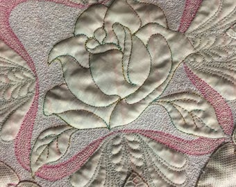 Quilted Vintage Bridal Handkerchief Wall Hanging
