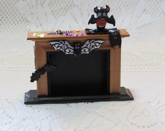 Dollhouse miniature Halloween fireplace