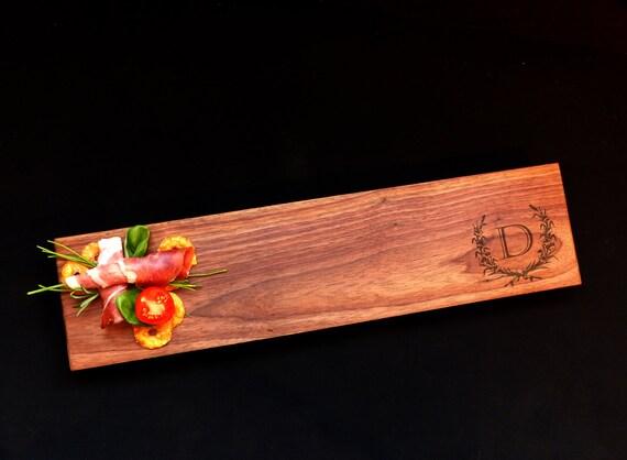 Walnut 22x5  Personalized Cheese Board Euro Edge w/Feet & Wood Butter Gourmet Host Gift Sushi Board Custom Wood Cutting Board Tapas Board