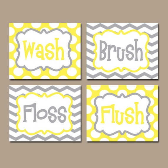 Yellow Gray BATHROOM Rules Wall Art CANVAS or Prints Boy Girl  sc 1 st  Fastingforourfuture.org & Fine Canvas Bathroom Wall Art Ensign - Wall Art Collections ...