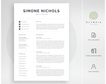 Professional Resume Template | Modern Resume Template for Word | Instant Download | 1 and 2 Page Resume | Mac & PC | Cover Letter | Simone