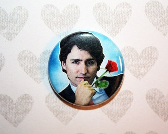 Justin Trudeau Canadian Prime Minister- one inch pinback button magnet
