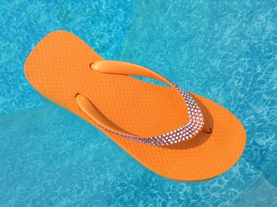 "Orange Wedge flip flops custom w/ Swarovski Crystal Sun AB iridescent sandals Rhinestone Jewel Cariris Brazilian 1.5"" Heel bling Thong Shoes"