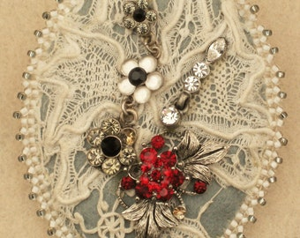 Shabby Chic Beaded Brooch/Pin with Genuine Antique Lace
