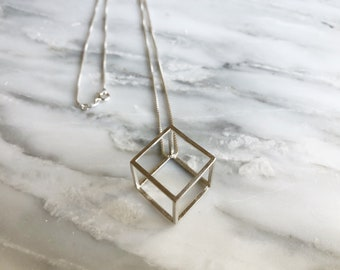 3D Cube Necklace, Cube Pendant, 3D Designed Necklace, 3D Printed Necklace, Geometric Necklace, Modern Necklace, Stacking Necklace