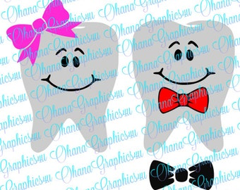 Cute Boy & Girl Teeth SVGs for Tooth Fairy Bags with Bowtie and Bow