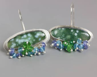 Ocean Jasper Earrings with Swiss Blue Topaz, Green Tourmaline and Tanzanite Fringe