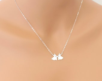 Kissing Bunnies Necklace, Sterling Silver, Pet Bunny, Rabbit Jewelry, Gift, For Her, Bunny Necklace, Rabbit Necklace