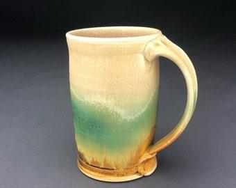 Handmade Wheel Thrown Mug, Pottery Mug, Coffee Mugs, Stoneware Mug, Ceramic Mug, Green Orange Mug2