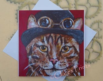 Steampunk Tabby Cat Art Greeting Card From my Original Painting