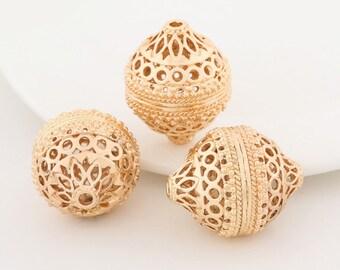 5 pcs 24k gold plated huge lucky ball pendant brass spacer beads  brass caps brass connector
