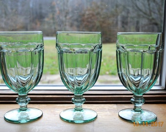 3 - Libbey Gibraltar Duratuff Spanish Green Ice Tea Glasses