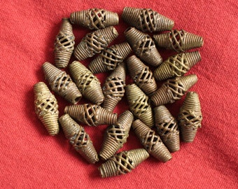 African Brass Beads African Bi-cones Hand-made Lost Wax 20 mm for Jewellery and Crafts