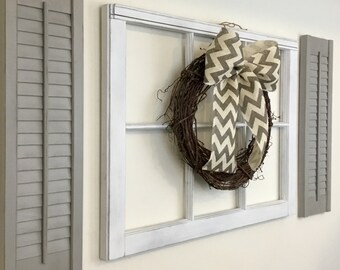 Farmhouse Decor, Window Frame, Shutter Wall Decor, Grapevine Wreath